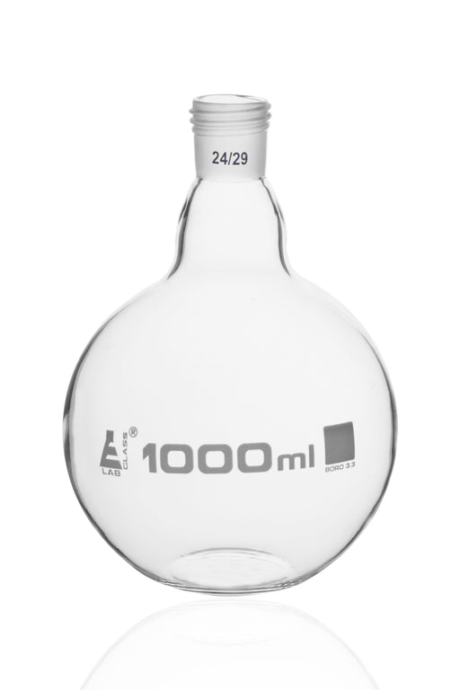 Boiling Flask with 24/29 Joint, 1000ml - Flat Bottom, Interchangeable Screw Thread Joint - Borosilicate Glass - Eisco Labs