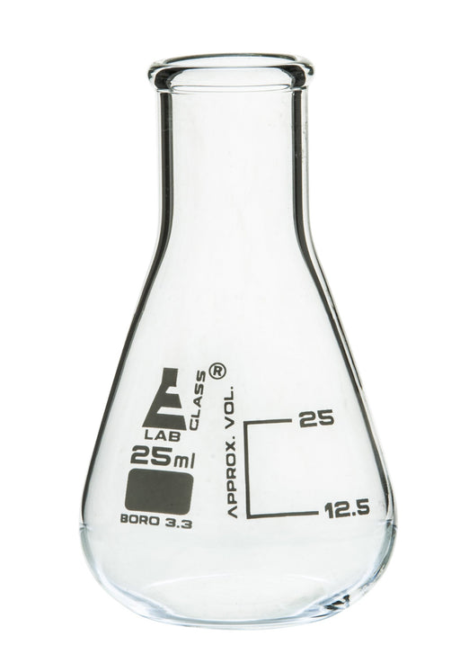 Erlenmeyer Flask, 25ml - Borosilicate Glass - Narrow Neck, Conical Shape - White Graduations - Eisco Labs