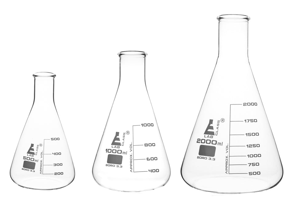 Erlenmeyer Flasks Set, 3 Pieces - 500ml, 1000ml & 2000ml - Borosilicate Glass - Narrow Neck, Conical Shape - White Graduations - Eisco Labs
