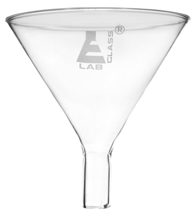 Powder Funnel, 100mm - 60º Angle - Plain Stem - Borosilicate Glass - Eisco Labs