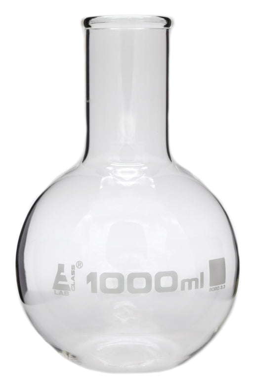 Boiling Flask, 1000ml - Borosilicate Glass - Flat Bottom, Wide Neck - Eisco Labs