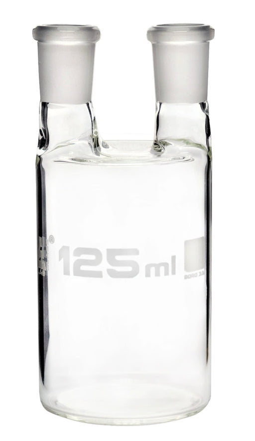 Woulff Gas Wash Bottle, 125ml - Borosilicate Glass - Two Necks