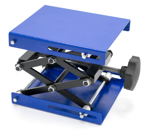 "Heavy Duty Laboratory Scissor Jack - Steel Platform 6"" by 5""- Max Height 9 5/8"", Min Height 2 1/2"" - Maximum Stable Weight 55lbs"