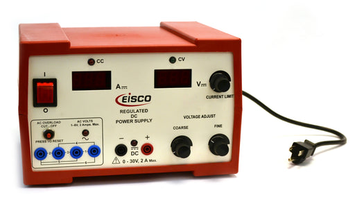 Eisco Labs Regulated DC and Standard AC Power Supply 0 - 30V / 2 Amp - Coarse and Fine Voltage Adjustment, AC 1-6V [1V increments]  (Discontinued)