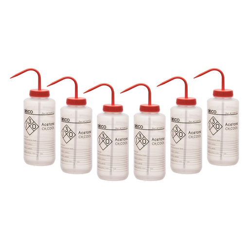 6PK Performance Plastic Wash Bottle, Acetone, 1000 ml - Labeled (1 Color)