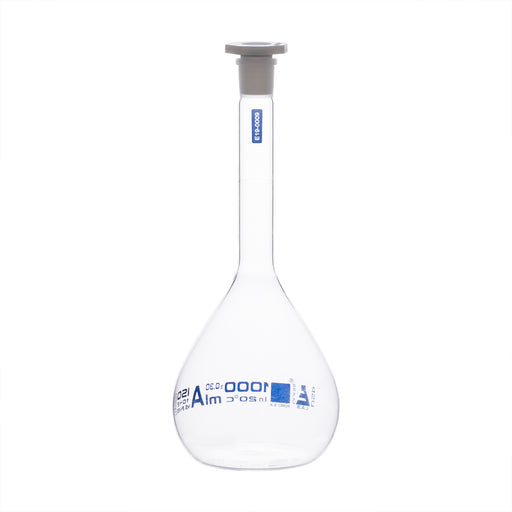 Volumetric Flask, 1000ml - Class A, ASTM - Polypropylene Stopper - Blue Graduation - Borosilicate Glass