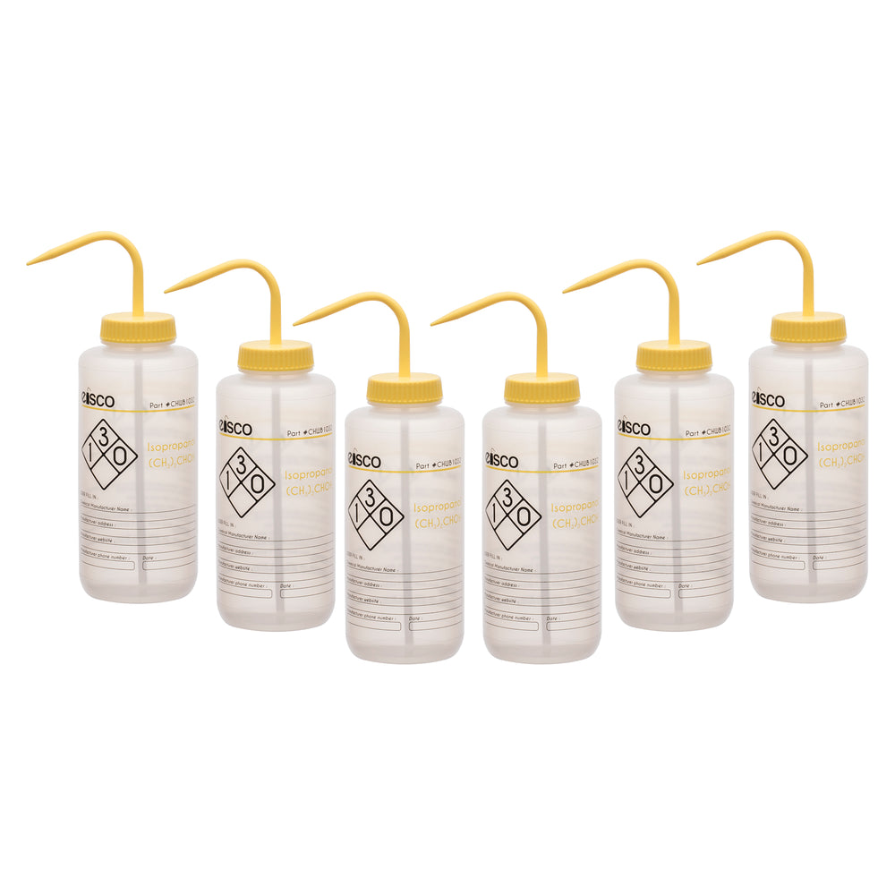 6PK Performance Plastic Wash Bottle, Isopropanol, 1000 ml - Labeled (2 Color)