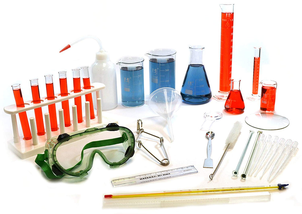 Laboratory Starter Kit - 32 Pieces - Glassware & Plasticware - Select Equipment for Basic Measurement, Scientific Method & Intro Chemistry - Eisco Labs