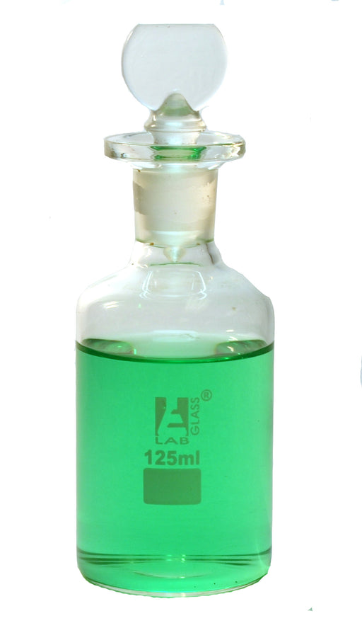Eisco Labs 125ml B.O.D. borosilicate glass bottle with stopper