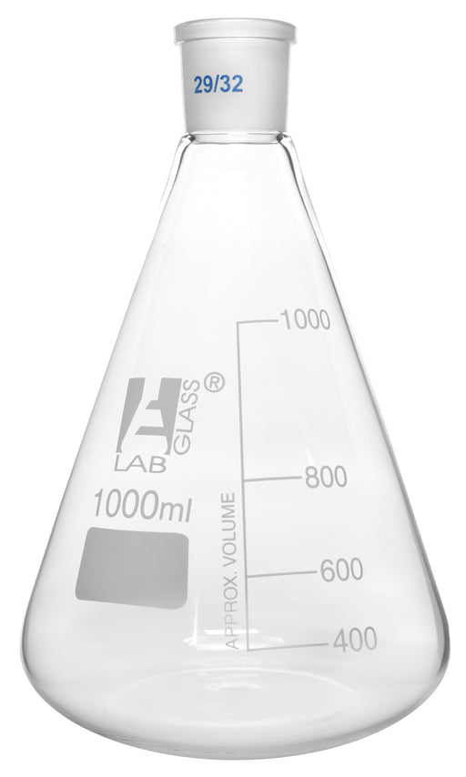 Erlenmeyer Flask, 1000ml - 29/32 Joint, Interchangeable - Borosilicate Glass - Conical Shape, Narrow Neck - Eisco Labs