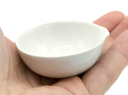 "20mL capacity, Round Evaporating Dish with Spout - Porcelain - 2"" Outer Diameter, 0.85"" Tall"