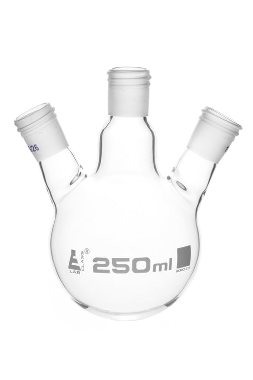 Distillation Flask with 3 Necks, 250ml Capacity, 19/26 Joint Size, Interchangeable Screw Thread Joints, Borosilicate Glass - Eisco Labs