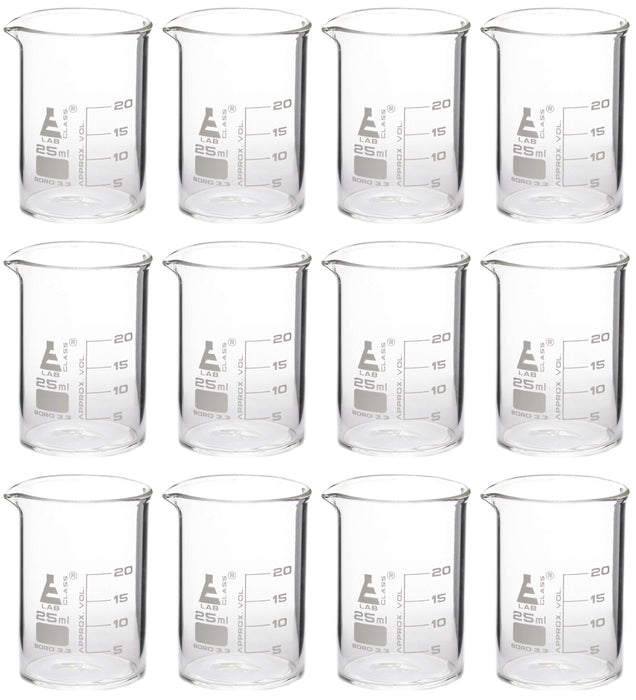 12PK Beakers, 25ml - Griffin Style, Low Form with Spout - White, 5ml Graduations - Borosilicate 3.3 Glass