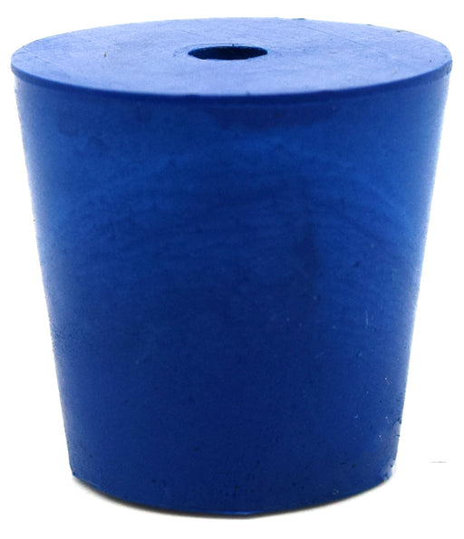 Neoprene Stopper ASTM, 1 Hole - Blue, Size #4 - 20mm Bottom, 26mm Top, 25mm Length - Pack of 10 - Eisco Labs