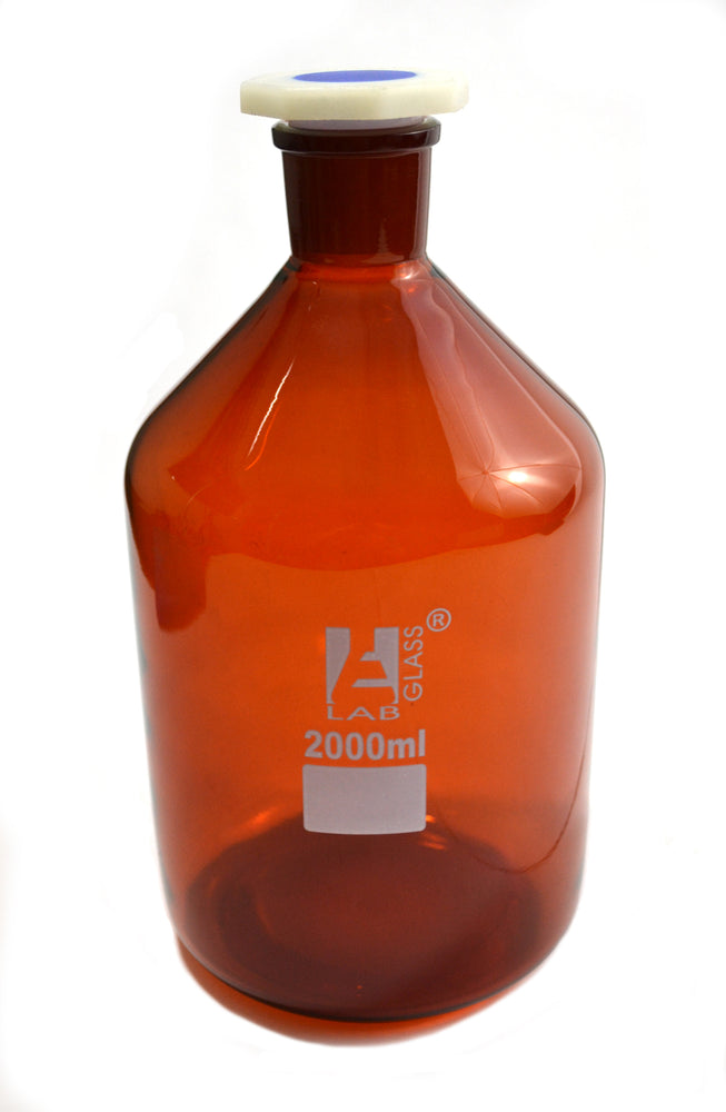 Eisco Labs 2000 ml Amber Reagent Bottle , Narrow Mouth with Acid Proof Polypropylene stopper, socket size 34/35