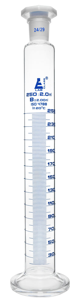 Measuring Cylinder, 250ml - Class B - 24/29 Polypropylene Stopper - Round Base, Blue Graduations - Borosilicate Glass - Eisco Labs