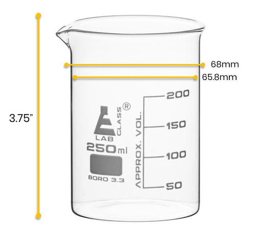 12PK Beakers, 250ml - Low Form - 50ml Graduations - Borosilicate Glass