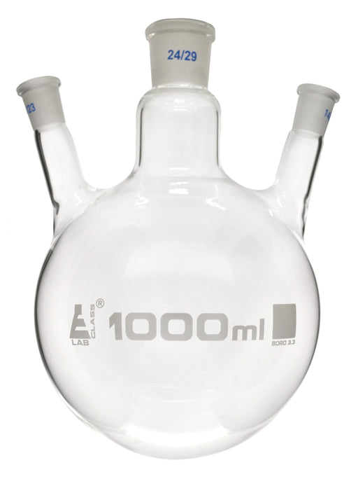 Distilling Flask, 1000ml - 3 Angled Necks, 24/29 Center, 14/23 Side Sockets - Interchangeable Ground Joints - Round Bottom - Borosilicate Glass - Eisco Labs