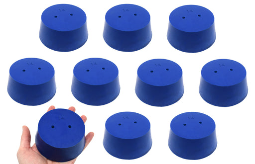 10PK Neoprene Stoppers, 2 Holes - ASTM - Size #14 - 75mm Bottom, 90mm Top, 39mm Length