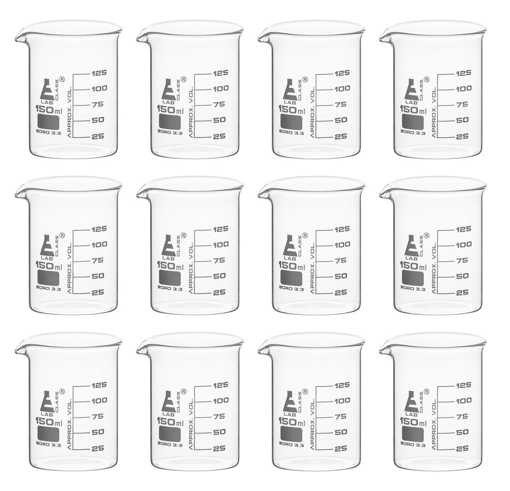 12PK Beakers, 150ml - Griffin Style, Low Form with Spout - White, 25ml Graduations - Borosilicate 3.3 Glass