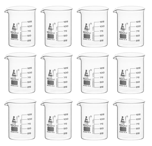 12PK Beakers, 150ml - Low Form - 25ml Graduations - Borosilicate Glass