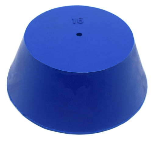 Neoprene Stopper, ASTM - Pack of 10 - 1 Hole - Blue, Size #16: 90mm Bottom, 127mm Top, 50mm Length - Eisco Labs