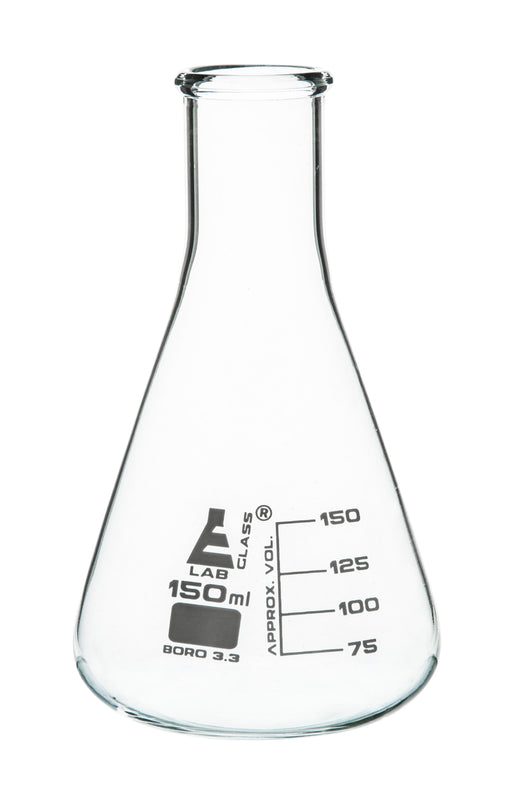 Erlenmeyer Flask, 150ml - Borosilicate Glass - Narrow Neck, Conical Shape - White Graduations - Eisco Labs