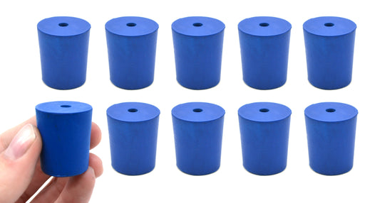 Neoprene Stoppers, 1 Hole - Blue - Size: 21mm Bottom, 24mm Top, 28mm Length - Pack of 10