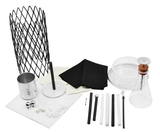 15 Piece Electrostatic Demonstration Kit - Includes Electroscopes, Faraday Cage, Ice Pail, Electrophorus, Friction Rods & More - For Lightning Rod Demonstrations - Eisco Labs