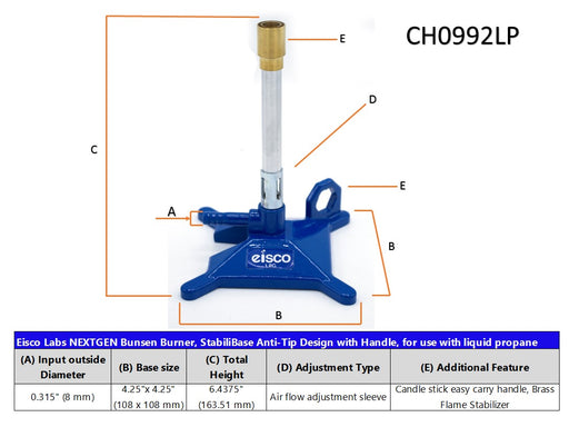 Liquid Propane Bunsen Burner, StabiliBase Anti-Tip Design with Handle, with Flame Stabilizer, LP Eisco Labs