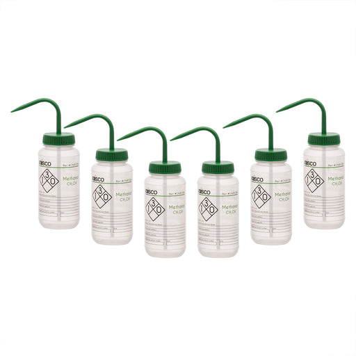 6PK Wash Bottle for Methanol, 500ml - Labeled (2 Color)