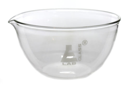 "Evaporating Basin - 3"" (76mm) dia.  Borosilicate Glass, Flat bottom with Spout - Eisco Labs"