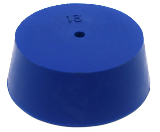 Neoprene Stopper, ASTM - Pack of 10 - 1 Hole - Blue, Size #13: 58mm Bottom, 68mm Top, 25mm Length - Eisco Labs