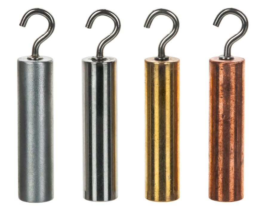 4pc Hooked Metal Cylinders Set - Brass, Aluminum, Steel & Copper - 1.5 x 0.5""