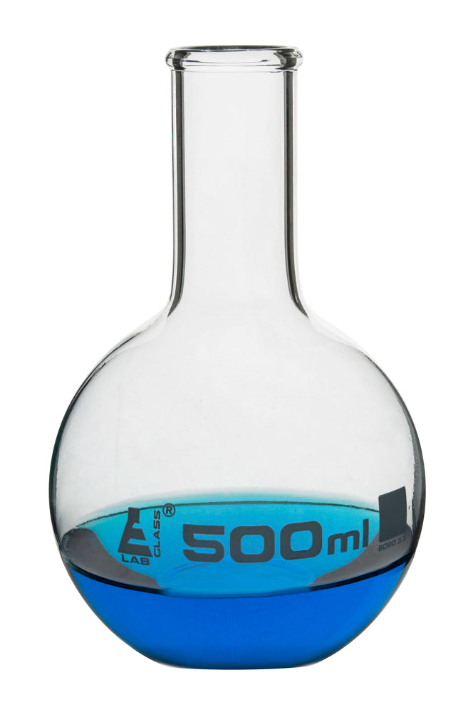 Boiling Flask, 500ml - Borosilicate Glass - Flat Bottom, Narrow Neck - Eisco Labs