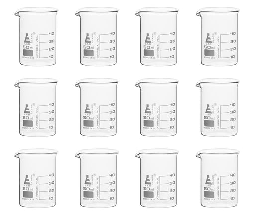 12PK Beakers, 50ml - Low Form - 10ml Graduations - Borosilicate Glass