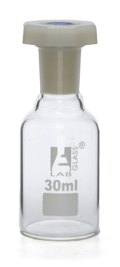 30mL (1oz) Glass Reagent Bottle with Acid Proof Polypropylene Stopper, Borosilicate 3.3 Glass - Eisco Labs