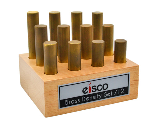12pc Cylindrical Bars Density Set, Brass - Wooden Storage Block