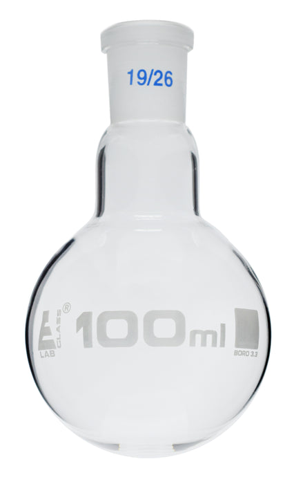 Florence Boiling Flask, 100ml - 19/26 Interchangeable Joint - Borosilicate Glass - Round Bottom - Eisco Labs