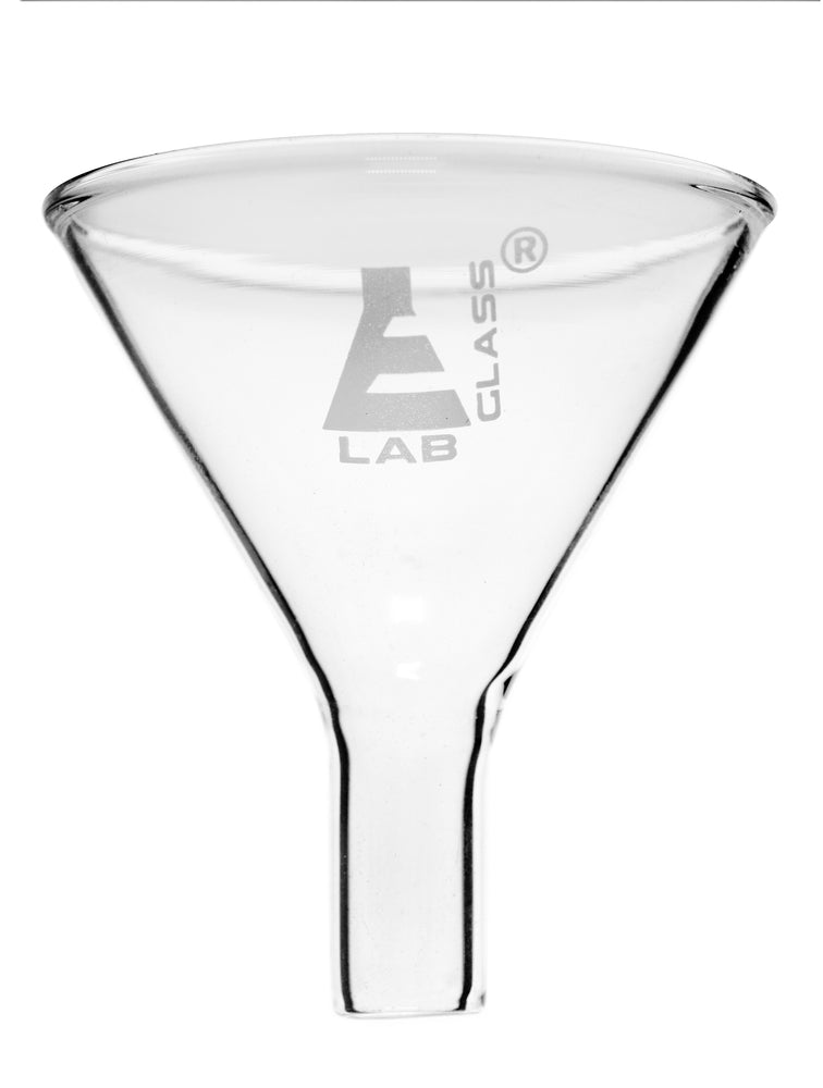 Powder Funnel, 55mm - 60º Angle - Plain Stem, 20mm - Borosilicate Glass - Eisco Labs