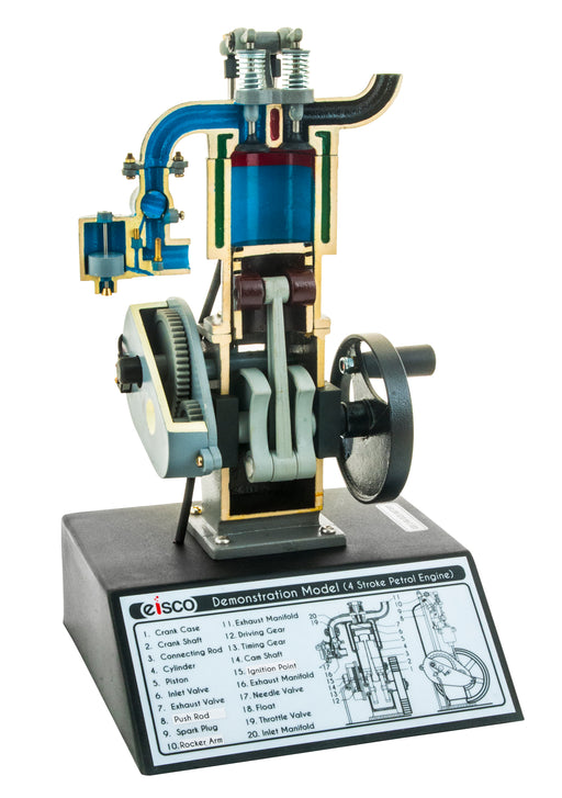 "4 Stroke Gasoline Hand Crank Engine Model with Actuating Movable Parts to Demonstrate Engine Basics - 13.75"" Tall - Eisco Labs"