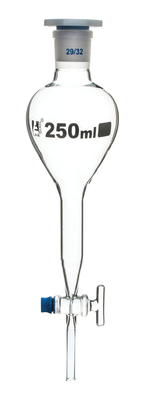 Gilson Separating Funnel, 250ml - Glass Stopcock - Plastic Stopper, Socket Size 29/32 - Borosilicate Glass - Eisco Labs