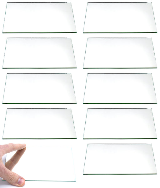 "10 Pack Rectangular Plano Glass Mirror, 6"" x 4"" - 2mm Thick Approx. - Eisco Labs"
