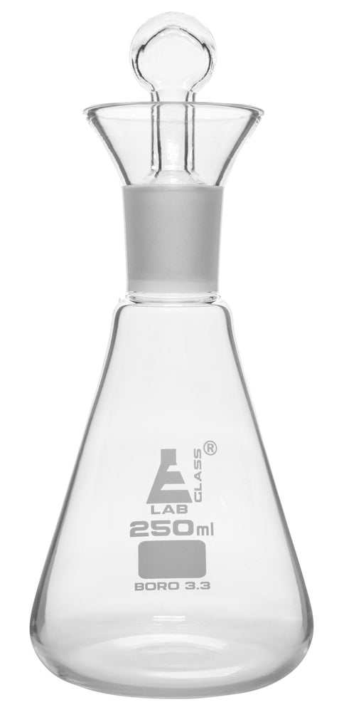 Iodine Flask & Stopper, 250ml - 24/29 Socket Size, Interchangeable Stopper - Conical Shape - Borosilicate Glass - Eisco Labs