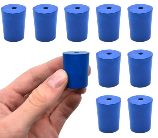 Neoprene Stoppers, 1 Hole - Blue - Size: 19mm Bottom, 22mm Top, 28mm Length - Pack of 10