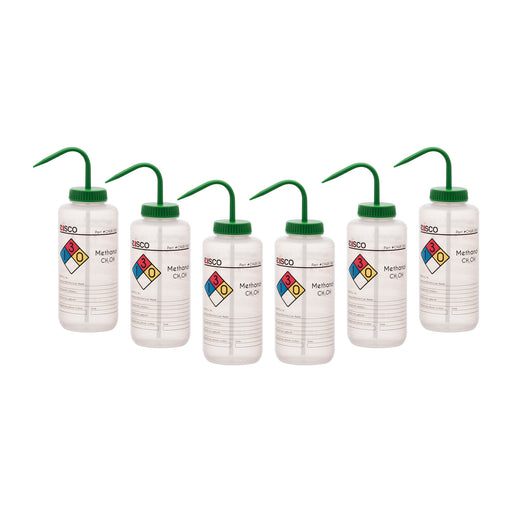 6PK Performance Plastic Wash Bottle, Methanol, 1000 ml - Labeled (4 Color)