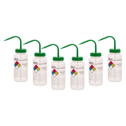 6PK Performance Plastic Wash Bottle, Methanol, 500 ml - Labeled (4 Color)