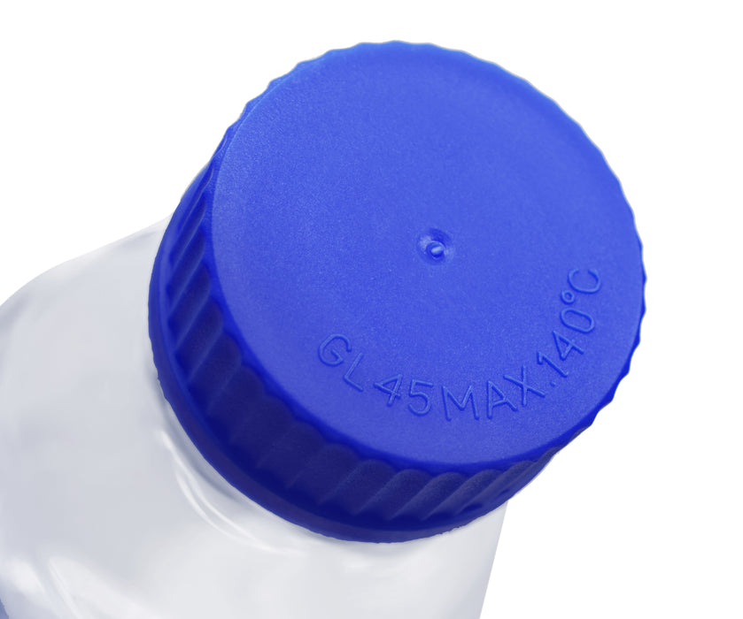 Reagent Bottle, 1000ml - Transparent with Blue Screw Cap - White Graduations - Borosilicate 3.3 Glass - Eisco Labs
