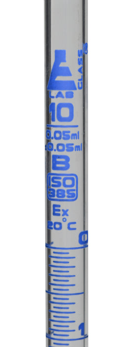 "Burette, 10ml - 17"" Long, 0.5"" Diameter, Class B, DIN ISO 385 Compliant, Borosilicate Glass with Glass Key Stopcock, 0.05ml Graduations - Eisco Labs"
