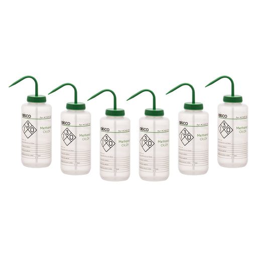 6PK Performance Plastic Wash Bottle, Methanol, 1000 ml - Labeled (2 Color)